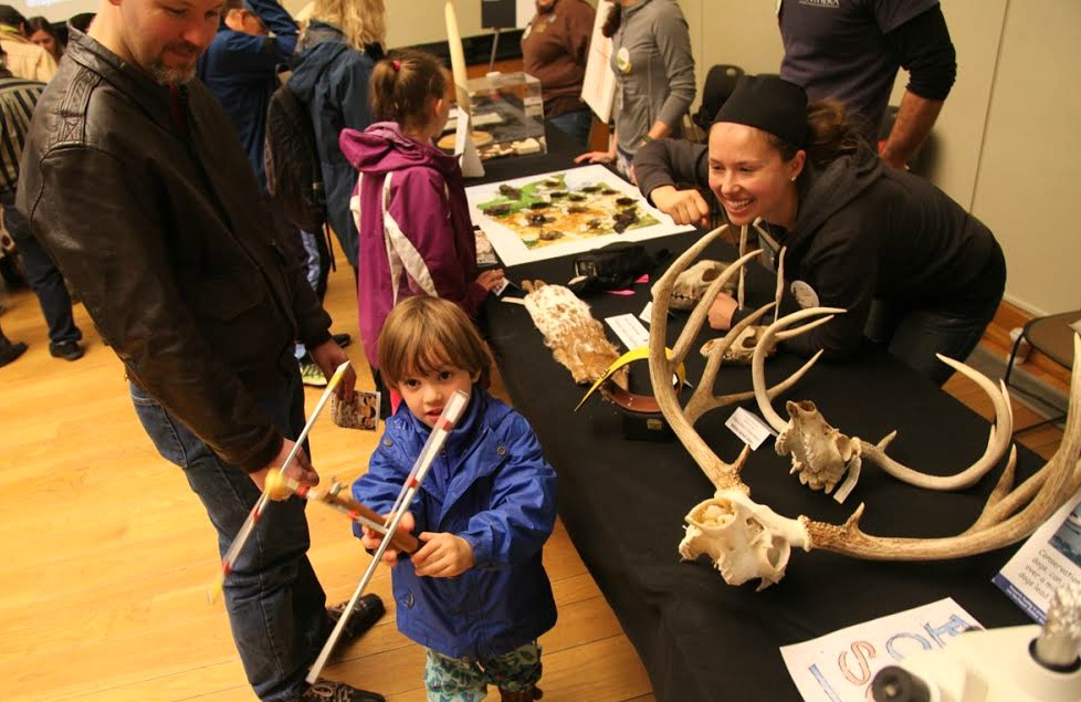 Volunteers sharing animal skins and skulls with the public