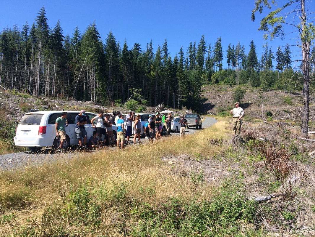 group of students and vehicles in Washington forested area